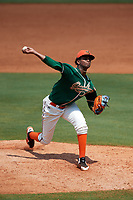 Greensboro Grasshoppers starting pitcher Edward Cabrera (28) delivers a pitch during a game against the Lakewood BlueClaws on June 10, 2018 at First National Bank Field in Greensboro, North Carolina.  Lakewood defeated Greensboro 2-0.  (Mike Janes/Four Seam Images)