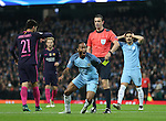 Raheem Sterling of Manchester City reacts as he is shown a yellow card for simulation during the Champions League Group C match at the Etihad Stadium, Manchester. Picture date: November 1st, 2016. Pic Simon Bellis/Sportimage