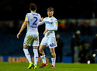 Leeds United's Luke Ayling congratulates Leif Davis after the match<br /> <br /> Photographer Alex Dodd/CameraSport<br /> <br /> The EFL Sky Bet Championship -  Leeds United v Derby County - Friday 11th January 2019 - Elland Road - Leeds<br /> <br /> World Copyright &copy; 2019 CameraSport. All rights reserved. 43 Linden Ave. Countesthorpe. Leicester. England. LE8 5PG - Tel: +44 (0) 116 277 4147 - admin@camerasport.com - www.camerasport.com
