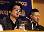 """September 19, 2017, Tokyo, Japan - Japanese film director Junji Sakamoto speaks for his latest movie """"Ernesto"""" at the Foreign Correspondents' Club of Japan in Tokyo on Tuesday, September 19, 2017. Japan-Cuba co-production movie will be screening on October 6.    (Photo by Yoshio Tsunoda/AFLO) LWX -ytd-"""