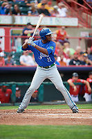 Hartford Yard Goats designated hitter Correlle Prime (22) at bat during a game against the Erie SeaWolves on August 6, 2017 at UPMC Park in Erie, Pennsylvania.  Erie defeated Hartford 9-5.  (Mike Janes/Four Seam Images)