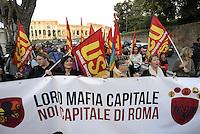 Roma, 2 Ottobre 2015<br /> Manifestazione di lavoratrici e lavoratori del settore pubblico del Comune di Roma contro la privatizzazione delle aziende municipalizzate.<br /> Corteo dal Colosseo al Campidoglio