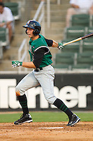 Ryan Lollis #22 of the Augusta GreenJackets follows through on his swing against the Kannapolis Intimidators at Fieldcrest Cannon Stadium June 24, 2010, in Kannapolis, North Carolina.  Photo by Brian Westerholt / Four Seam Images