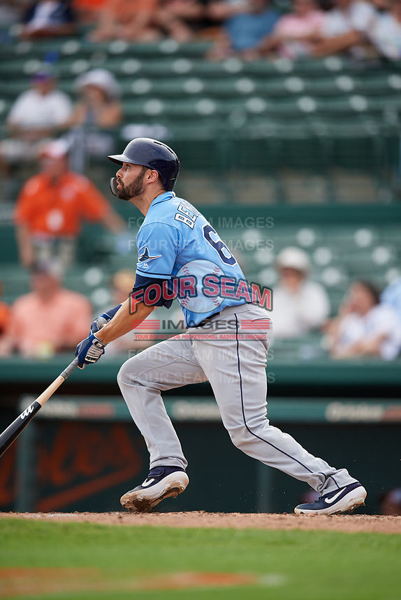 Tampa Bay Rays catcher Anthony Bemboom (67) hits a home run in the top of the ninth inning during a Grapefruit League Spring Training game against the Baltimore Orioles on March 1, 2019 at Ed Smith Stadium in Sarasota, Florida.  Rays defeated the Orioles 10-5.  (Mike Janes/Four Seam Images)