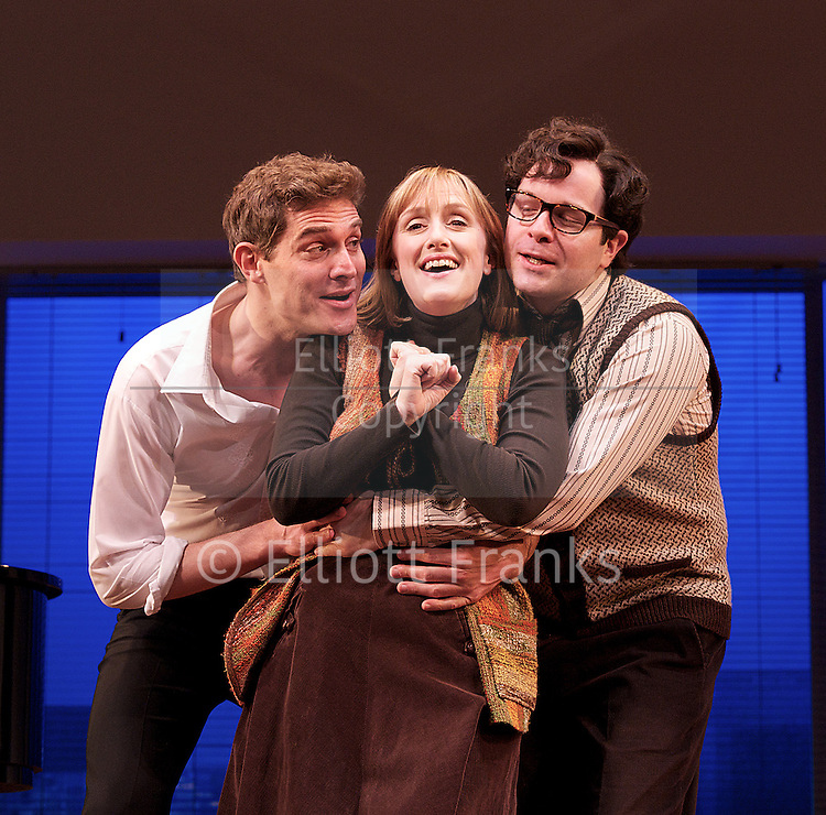 Merrily We Roll Along <br /> music and lyrics by Stephen Sondheim <br /> book by George Furth <br /> production by Maria Friedman <br /> at The Harold Pinter Theatre, London, Great Britain <br /> 30th April 2013 <br /> press photocall<br /> <br /> <br /> Josefina Gabrielle as Gussie<br /> <br /> Mark Umbers as Franklin Shepard<br /> <br /> Jenna Russell as Mary Flynn<br /> <br /> Damian Humbley as Charley Kringas<br /> <br /> Glyn Kerslake as Joe<br /> <br /> <br /> Photograph by Elliott Franks