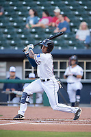 Northwest Arkansas Naturals outfielder Nick Heath (2) connects on a pitch on May 16, 2019, at Arvest Ballpark in Springdale, Arkansas. (Jason Ivester/Four Seam Images)
