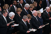 Dignitaries in the front rows at the State Funeral for former United States President Gerald R. Ford at the Washington National Cathedral, in Washington, D.C. on Tuesday, January 2, 2007.  In the front row are: President George W. Bush,first lady Laura Bush,Vice President Dick Cheney, Lynne Cheney, and former President Jimmy Carter.  In the second row are former President George H.W. Bush, former first lady Barbara Bush, Doro Bush Koch, former President Bill Clinton, former first lady Senator Hillary Rodham Clinton (Democrat of New York), Chelsea Clinton, Secretary of State Condoleezza Rice..Credit: Ron Sachs / CNP.[NOTE: No New York Metro or other Newspapers within a 75 mile radius of New York City].
