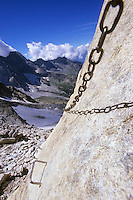 Cacciabella pass (2800 m) is equipped with a via ferrata. Bergell, Switzerland, August 2011.