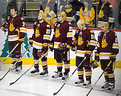Kyle Schmidt (Duluth - 7), Wade Bergman (Duluth - 28), Justin Faulk (Duluth - 25), Jake Hendrickson (Duluth - 15), J.T. Brown (Duluth - 23) - The University of Minnesota-Duluth Bulldogs defeated the University of Michigan Wolverines 3-2 (OT) to win the 2011 D1 National Championship on Saturday, April 9, 2011, at the Xcel Energy Center in St. Paul, Minnesota.