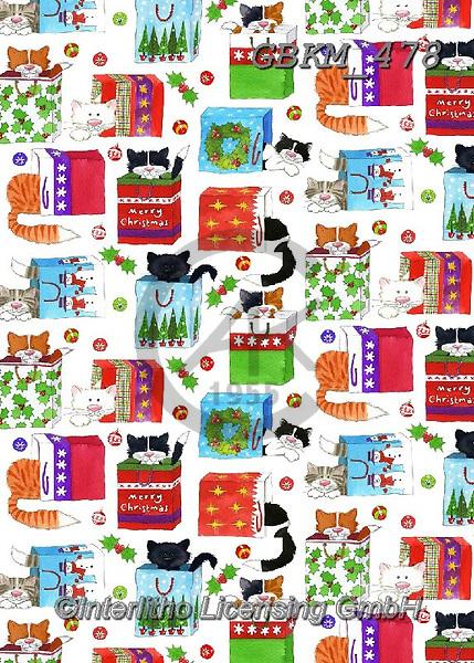 Kate, GIFT WRAPS, GESCHENKPAPIER, PAPEL DE REGALO, Christmas Santa, Snowman, Weihnachtsmänner, Schneemänner, Papá Noel, muñecos de nieve, paintings+++++Cats in bags wrap revised.,GBKM478,#gp#,#x#