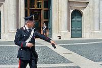 Roma 29 Aprile 2013.Aumentati i controlli davanti Camera dei Deputati dove si voto la fiducia al Governo Letta e il giorno dopo la sparatoria dove sono stati feriti due carabinieri.