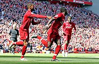 Liverpool's Sadio Mane celebrates with Georginio Wijnaldum (left) after scoring the opening goal <br /> <br /> Photographer Rich Linley/CameraSport<br /> <br /> The Premier League - Liverpool v Wolverhampton Wanderers - Sunday 12th May 2019 - Anfield - Liverpool<br /> <br /> World Copyright © 2019 CameraSport. All rights reserved. 43 Linden Ave. Countesthorpe. Leicester. England. LE8 5PG - Tel: +44 (0) 116 277 4147 - admin@camerasport.com - www.camerasport.com
