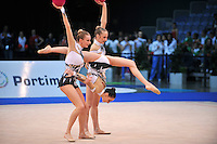 Italian senior group performs routine at 2011 World Cup at Portimao, Portugal on April 28, 2011.