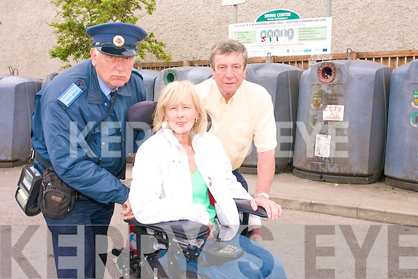 We can see you: Listowel litter warden Graham Borley, with Tidy Towns' Jackie Barrett and Malcolm Payne at Nolan's Car Park in the town where they are warning illegal dumpers that the CCTV system will catch them.