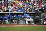 OMAHA, NE - JUNE 26: Jonathan India (6) of the University of Florida bunts so his teammate Austin Langworthy (44) can advance to third base against Louisiana State University during the Division I Men's Baseball Championship held at TD Ameritrade Park on June 26, 2017 in Omaha, Nebraska. The University of Florida defeated Louisiana State University 4-3 in game one of the best of three series. (Photo by Justin Tafoya/NCAA Photos via Getty Images)