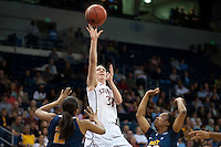 NORFOLK, VA--Toni Kokenis attempts two points during play against West Virginia University at the Ted Constant Convocation Center at Old Dominion University for the second round of the 2012 NCAA Championships. The Cardinal advanced to the West Regionals in Fresno with a score of 72-55.