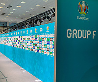 Interviewbereich der Gruppe F in der Romexpo ist bereit - 30.11.2019: UEFA EURO2020 Auslosung, Romexpo Bukarest, DISCLAIMER: UEFA regulations prohibit any use of photographs as image sequences and/or quasi-video.
