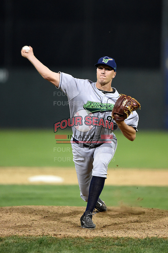 Jamestown Jammers pitcher Eric Dorsch (99) delivers a pitch during a game against the Batavia Muckdogs on July 7, 2014 at Dwyer Stadium in Batavia, New York.  Batavia defeated Jamestown 9-2.  (Mike Janes/Four Seam Images)