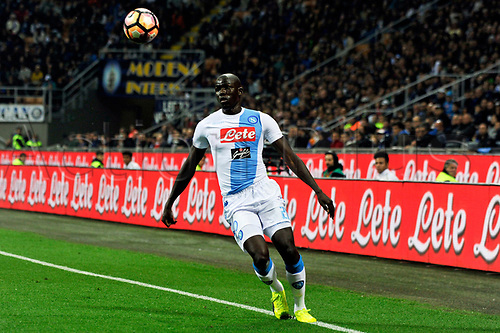April 30th 2017, San Siro Stadium, Milan, Italy; Kalidou Koulibaly of Napoli in action during the Serie A football match, Inter Milan versus Napoli; Napoli won the game by a score of 0-1