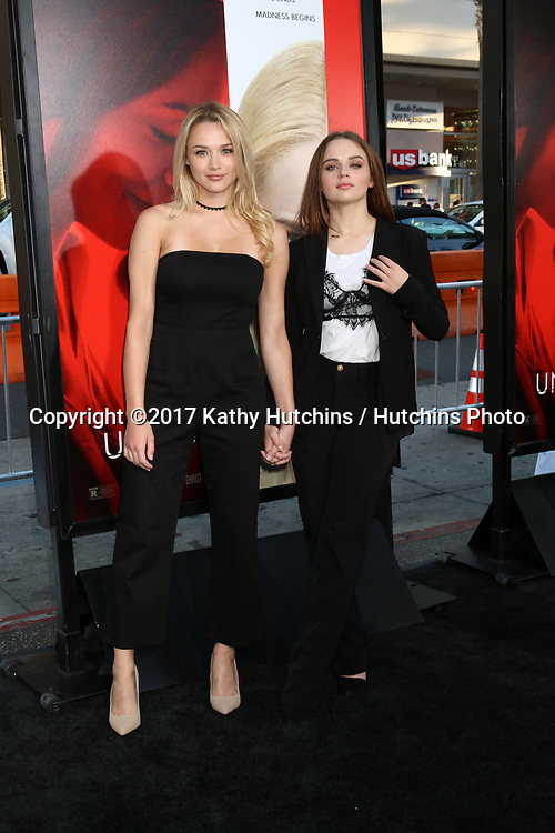 "LOS ANGELES - APR 18:  Hunter King, Joey King at the ""Unforgettable"" Premiere at TCL Chinese Theater IMAX on April 18, 2017 in Los Angeles, CA"