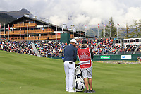 Lucas Bjerregaard (DEN) and caddy Bo on the 18th hole during Sunday's Final Round of the 2017 Omega European Masters held at Golf Club Crans-Sur-Sierre, Crans Montana, Switzerland. 10th September 2017.<br /> Picture: Eoin Clarke | Golffile<br /> <br /> <br /> All photos usage must carry mandatory copyright credit (&copy; Golffile | Eoin Clarke)