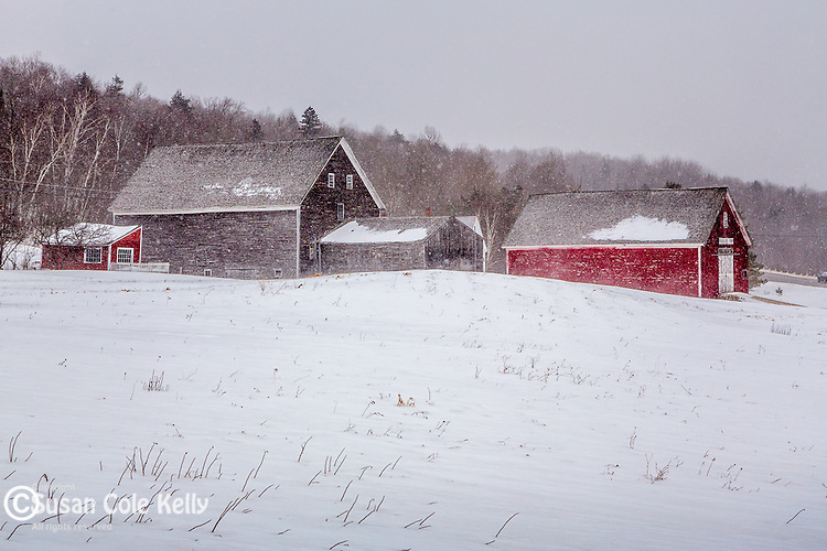 Winter farm in Randolph, New Hampshire, USA