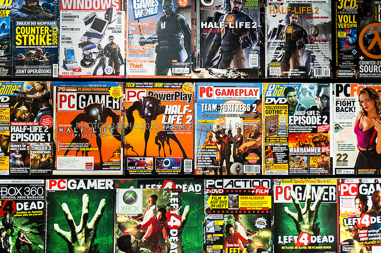 8/2/2012--Bellevue, WA, USA<br /> <br /> Magazine covers with Valve Software's games on them hang in the company's offices in Bellevue, WASH., just east of Seattle.<br /> <br /> The office is set up as a 'boss less' office that is fluid and non-hierarchical. Desks come with wheels so that they can be easily moved and reconfigured to create new work spaces for new projects. The desks can also be raised or lowered for comfort or to create a standing work space.<br /> <br /> &copy;2012 Stuart Isett. All rights reserved.