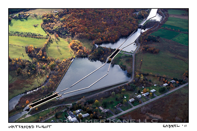 """Erie Canal locks 1,2,and 3. Called """"The Waterford Flight"""" The Erie Canal, New York State"""