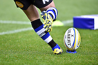 A general view of a Bath Rugby kicker practising during the pre-match warm-up. Aviva Premiership match, between Bath Rugby and Exeter Chiefs on October 17, 2015 at the Recreation Ground in Bath, England. Photo by: Patrick Khachfe / Onside Images