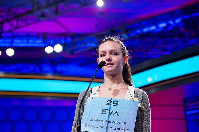 Speller No. 029, Eva Kitlen, 14, eighth grader at Sunset Middle School, Longmont, Colorado, competes in the preliminary rounds of the Scripps National Spelling Bee at the Gaylord National Resort and Convention Center in National Habor, Md., on Wednesday, May 29, 2013. Photo by Bill Clark