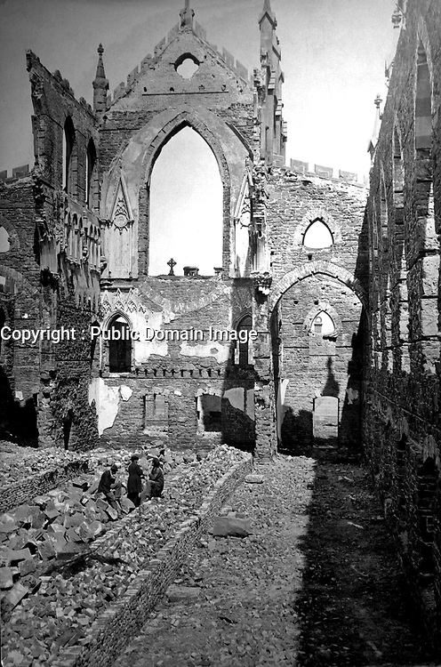 Interior view of ruins of Catholic Cathedral, Charleston.  1865. Selmar Rush Seibert. (War Dept.)<br /> Exact Date Shot Unknown<br /> NARA FILE #: 165-SC-793<br /> WAR & CONFLICT BOOK #:  243