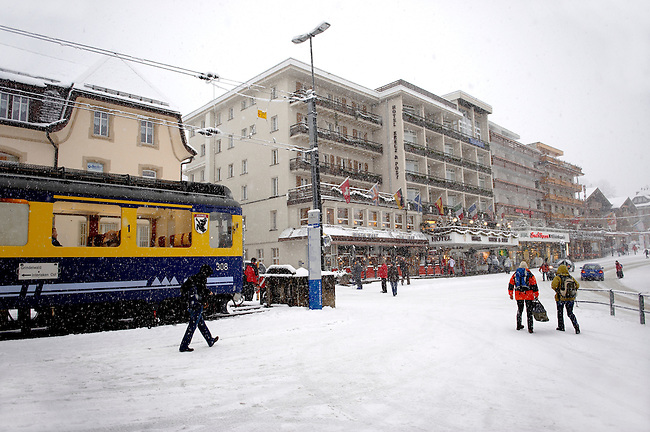 Grindelwald town train station in the winter snow. Ski resort - Swiss Alps