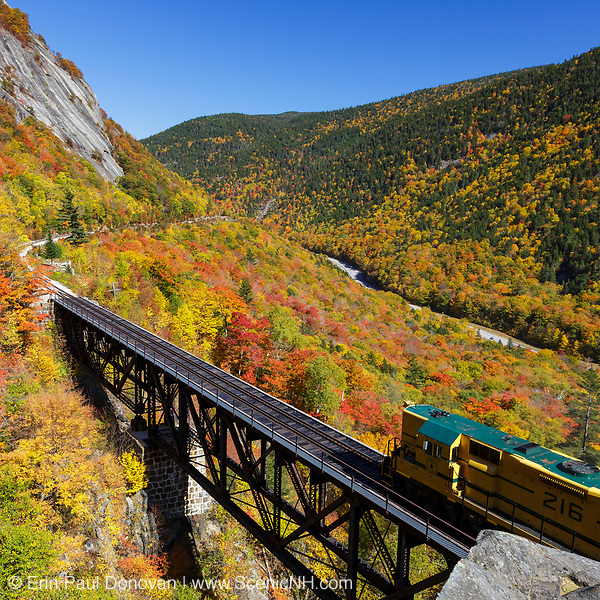 "The ""Notch Train"" represents October in the 2019 White Mountains New Hampshire calendar. This scene shows the Conway Scenic Railroad's ""Notch Train"" crossing the Willey Brook Trestle along the old Maine Central Railroad in Hart's Location, New Hampshire. Purchase a copy of the calendar here: http://bit.ly/2GPQ9q3"