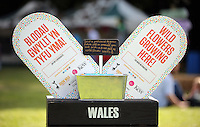 Pictured: A Send a Postcard sign Saturday 13 August 2016<br />Re: Grow Wild event at  Furnace to Flowers site in Ebbw Vale, Wales, UK
