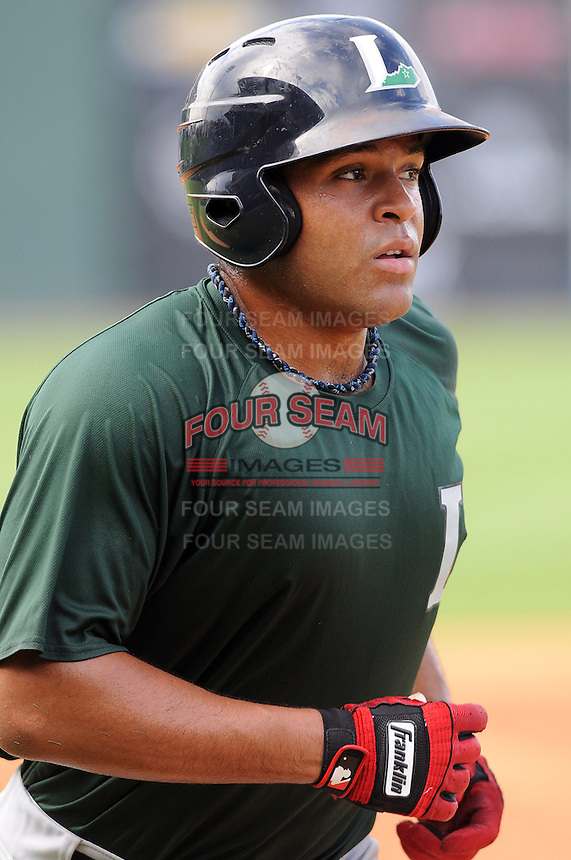 Outfielder Brandon Meredith (23) of the Lexington Legends, a Houston Astros affiliate, before a game against the Greenville Drive on July 19, 2012, at Fluor Field at the West End in Greenville, South Carolina. (Tom Priddy/Four Seam Images)
