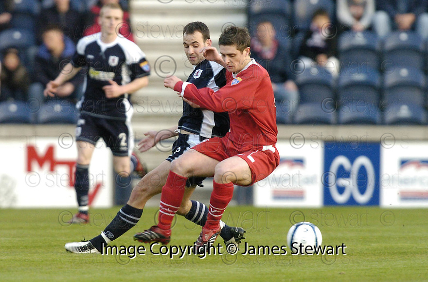 02/05/2007       Copyright Pic: James Stewart.File Name : sct_jspa01_raith_rovers_v_stirling_albion.ROSS FORSYTH HOLDS OFF RAITH'S PAUL MCMANUS.James Stewart Photo Agency 19 Carronlea Drive, Falkirk. FK2 8DN      Vat Reg No. 607 6932 25.Office     : +44 (0)1324 570906     .Mobile   : +44 (0)7721 416997.Fax         : +44 (0)1324 570906.E-mail  :  jim@jspa.co.uk.If you require further information then contact Jim Stewart on any of the numbers above.........