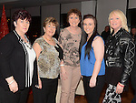 Pauline Owens, Marion McDonnell, Joan Gartland, Stacey Owens and Geraldine Simpson  enjoying a night out with Aura Gym in Brú. Photo:Colin Bell/pressphotos.ie