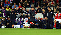 Serbia manager Slavoljub Muslin (C) and coaching staff protest to the referee for a foul suffered by Antonio Rukavina of Serbia during the 2018 FIFA World Cup Qualifier between Wales and Serbia at the Cardiff City Stadium, Wales, UK. Saturday 12 November 2016
