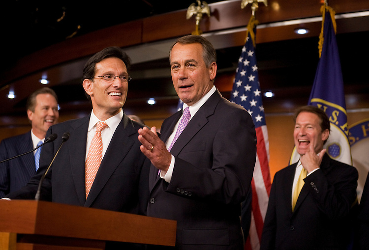 UNITED STATES - JULY 14:  Speaker John Boehner, R-Ohio, right, and House Majority Leader Eric Cantor, R-Va., conduct a news conference in the Capitol Visitor Center on the topics of a proposed balanced budget amendment and also the ongoing debt ceiling talks.  (Photo By Tom Williams/Roll Call)