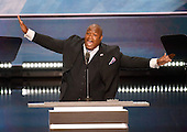 Pastor Mark Burns makes remarks at the 2016 Republican National Convention held at the Quicken Loans Arena in Cleveland, Ohio on Thursday, July 21, 2016.<br /> Credit: Ron Sachs / CNP<br /> (RESTRICTION: NO New York or New Jersey Newspapers or newspapers within a 75 mile radius of New York City)