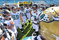 Jacksonville Jaguars veteran tight end Marcedes Lewis (89) provides a pep talk to teammates before kick-off against the Los Angeles Rams in a NFL game Sunday, October 15, 2017 in Jacksonville, Fl.  (Rick Wilson/Jacksonville Jaguars)