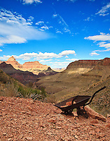 An old, rusted wheelbarrow from th mining era marks the turn-off to Page Springs on the Horseshoe Mesa East Spur Trail, which descends the Redwall Limestone Fornation of Horseshoe Mesa, Grand Canyon National Park.
