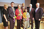 (L-R) Tina Brown, Thomas J. Dart, Marian Wright Edelman, Harry Belafonte, Sunitha Krishnan, Len Cariou, and Jeremy Travis at the John Jay Justice Award ceremony, April 5 2011.