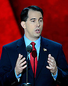 Governor Scott Walker (Republican of Wisconsin) makes remarks at the 2012 Republican National Convention in Tampa Bay, Florida on Tuesday, August 28, 2012.  .Credit: Ron Sachs / CNP.(RESTRICTION: NO New York or New Jersey Newspapers or newspapers within a 75 mile radius of New York City)