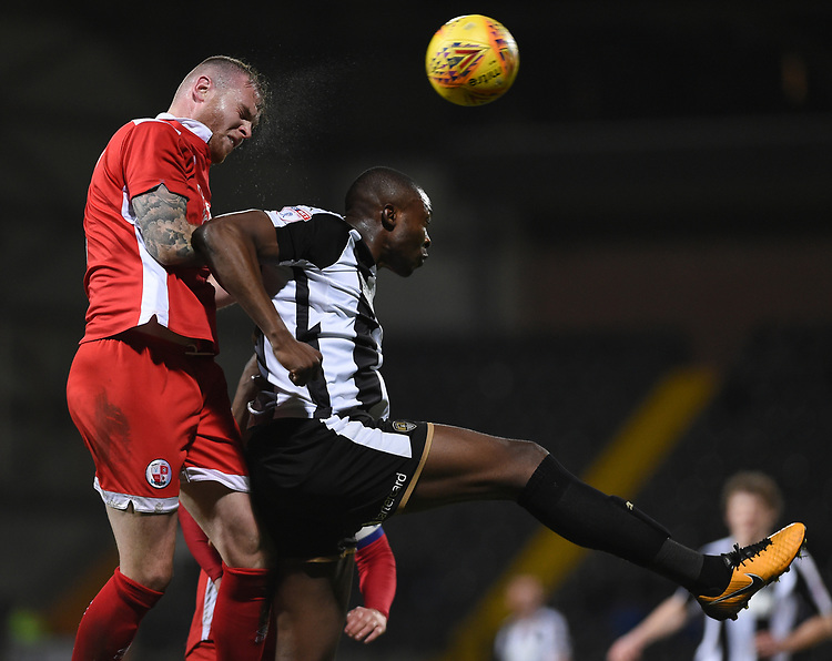 Notts County's Shola Ameobi and Crawley Town&rsquo;s Mark Connolly <br /> <br /> Photographer Jon Hobley/CameraSport<br /> <br /> The EFL Sky Bet League Two - Notts County v Crawley Town - Tuesday 23rd January 2018 - Meadow Lane - Nottingham<br /> <br /> World Copyright &copy; 2018 CameraSport. All rights reserved. 43 Linden Ave. Countesthorpe. Leicester. England. LE8 5PG - Tel: +44 (0) 116 277 4147 - admin@camerasport.com - www.camerasport.com