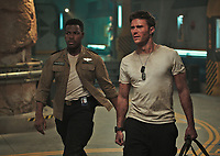 Pacific Rim Uprising (2018) <br /> John Boyega &amp; Scott Eastwood<br /> *Filmstill - Editorial Use Only*<br /> CAP/KFS<br /> Image supplied by Capital Pictures