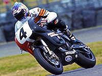 "Scott Russell, ""Mr. Daytona"", aboard his Harley Davidson during practice for the Daytona 200, Daytona INternational Speedway, Daytona beach, FL, March 1999.  (Photo by Brian Cleary/www.bcpix.com)"