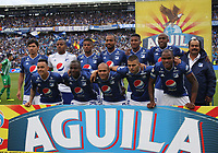 BOGOTÁ - COLOMBIA, 09-03-2019:Formación de Millonarios  ante el Atlético Nacional  durante partido por la fecha 9 de la Liga Águila I 2019 jugado en el estadio Nemesio Camacho El Campín de la ciudad de Bogotá. / Team of Millonarios agaisnt of Atletico Nacional  during the match for the date 9 of the Liga Aguila I 2019 played at the Nemesio Camacho El Campin Stadium in Bogota city. Photo: VizzorImage / Felipe Caicedo / Staff.