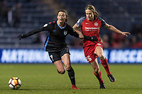 Bridgeview, IL - Saturday March 31, 2018: Taylor Comeau, Mallory Weber during a regular season National Women's Soccer League (NWSL) match between the Chicago Red Stars and the Portland Thorns FC at Toyota Park.
