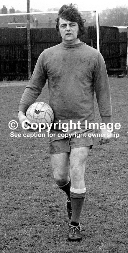 Albert Shirlow,, Lisburn, soccer goalkeeper, with sight in one eye only. 197402010051b<br />